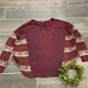 Free People oversized maroon patterned sweater
